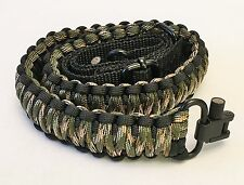 Black & Green Camo Paracord 550 Adjustable Gun Sling w/ Swivels Free Shipping!