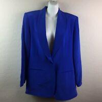 Vintage Savannah Women's Blue Silk Suit 2 Piece Jacket Pants Size 10