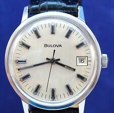 Bulova 1972 vintage Swiss 17J mechanical ss watch with new matched leather strap