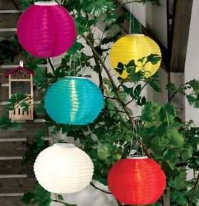 LED Solar Lampion 4 Farben Ø 30 cm mit 3 Schnüren Nylon IP44 Gartenlampion