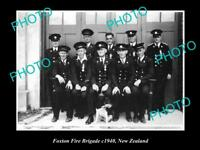 OLD LARGE HISTORIC PHOTO OF FOXTON FIRE BRIGADE CREW, 1940 NEW ZEALAND