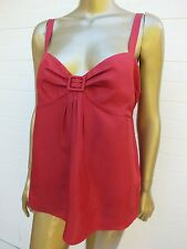 COUNTRY ROAD RED CAMI TANK BLOUSE TOP SHIRT  - SIZE LARGE - 100% SILK