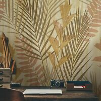 Textured Wallpaper roll Gold Metallic Modern Floral Tropical Palm Leaves Trees