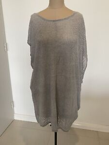 Eileen Fisher Asymmetrical Grey Knit Linen Vest One-Size (Fits Up To Size 22)