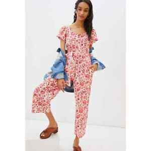 New Anthropologie Effie Floral Jumpsuit by Find Me Now $158 SMALL Red