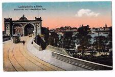 alte color. Foto-AK 1919@Ludwigshafen - Rheinbrücke Ludwigsh. Seite@ Straßenbahn