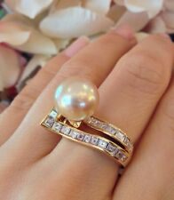Golden South Sea Pearl Wrap Ring with Square Cut Diamonds in 18k YG - HM1412