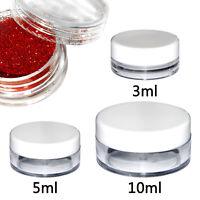 3ml 5ml 10ml Round Plastic Sample Pot Jar Lid Glitter Make Up Cosmetic Travel