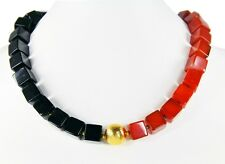 Unusual Precious Stone Necklace Made of Gemstones Onyx and Agate Cube Shape