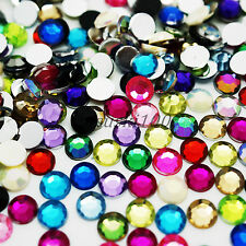 1000 RHINESTONES GEMS 6mm ACRYLIC FLAT BACK DIAMOND BEADS BLING ART CARDS