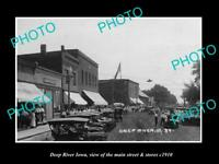 OLD LARGE HISTORIC PHOTO OF DEEP RIVER IOWA, THE MAIN STREET & STORES c1910 2