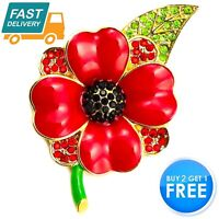 NEW RED ENAMEL CRYSTAL ANEMONE DAISY ROSE GOLD METAL PIN BACK BROOCH BADGE WOMEN
