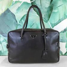 $895 PRADA Brown Leather Satchel Doctor Bag Front Logo Zip Around Silver SALE!