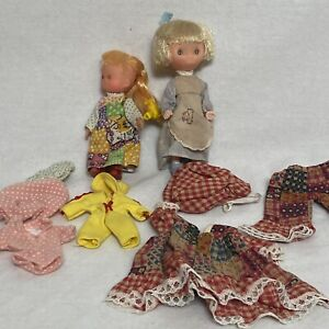 "Vintage 70's Holly Hobbie Doll KTC 6"" Hong Kong Bonnet Dress And Clothes Lot"