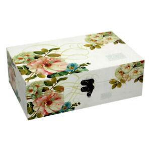 Floral Design Trinket Keepsake Wooden Storage Box Jewelry Case 16cm x 10cm
