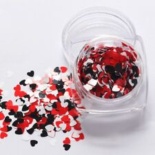 Valentines Nail Art RED WHITE BLACK Heart Shape Spangles Glitter 3D Decoration