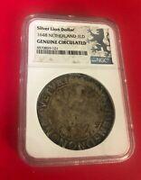 SILVER LION DOLLAR 1648 NETHERLAND 1LD NGC GENUINE CIRCULATED