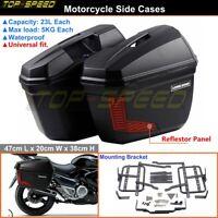 Motorcycle Side Cases Box Hard Trunk Cruiser Saddle Bag w/ Bracket Hardware Kit