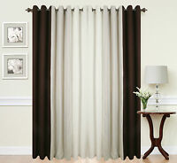Curtains Eyelet Ring Top Ready Made Lined Fully Pair 3 TONE CREAM BROWN BEIGE
