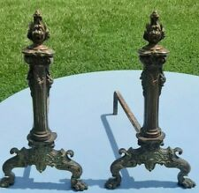 "Vintage Brass & Cast Iron Fireplace Andirons 19.5"" Tall"
