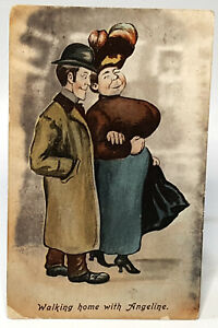Antique Humour postcard.Walking home with Angeline.