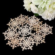 10 Pcs Hollow Wooden Snowflake Hanging Pendants Christmas Tree Decor Ornament
