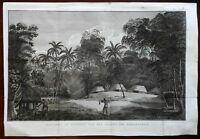 Kingdom of Tonga Family Scene Native Village 1801 Captain Cook engraved print