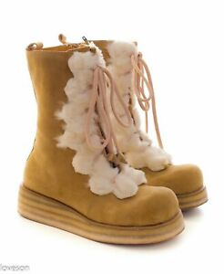 KUJI KUGA by CD Company Japan Suede Lace Up Wedge Boots 6.5 7