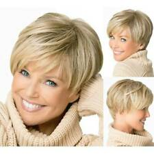 Women Short Straight Cropped Pixie Fashion Boycut Hairstyles Golden Blonde Wigs