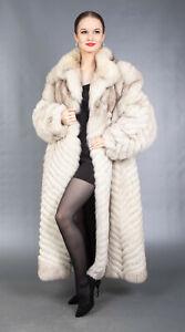 4850 GLAMOROUS REAL BLUE FOX COAT LUXURY FUR VERY LONG BEAUTIFUL LOOK SIZE XL