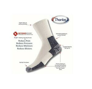 Thorlos XJ Max Cushion Running Crew Socks, White/Navy 3 Pair Pack, Large