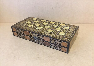 GREAT LOOKING OLD ANTIQUE SYRIAN MICROTILE GAMES BOX CHESS  DRAUGHTS BACKGAMMON