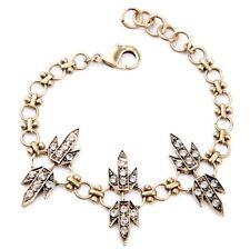 N025 Vintage Gold Link Chain Bracelet Statement Rhinestone Leaf Charm For Men