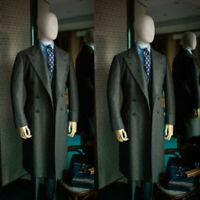 Dark Green Men Wool Overcoat Double-breasted Wide Peaked Lapel Long Formal Suits
