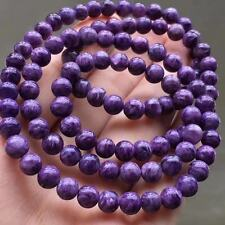 Genuine Natural Purple Charoite Crystal Round 108 Beads Bracelet 6.5mm AAAAA