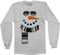 Snowman Sunglasses and Scarf Men's Long Sleeve T-Shirt Winter Christmas