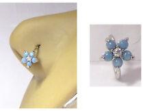 Surgical Steel Flower Aqua Opal Opalite Nose Seamless Hoop Ring 20 gauge 20g