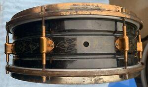 "1920's Brass 5"" x 14"" Leedy Multi-Model Engraved Black Elite Snare Drum."
