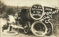 Pleasant Valley CT Changing Car Tire c1910 Real Photo Postcard