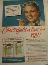 Peggy Lee, Chesterfield Cigarettes, Full Page Vintage Print Ad