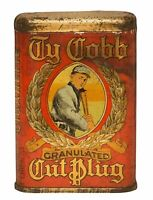 TY COBB GRANULATED CUT PLUG TOBACCO HEAVY DUTY USA MADE METAL ADVERTISING SIGN