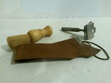Star safety razor blade leather strap brush shaving vintage set 3