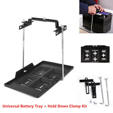 1x Black Car Storage Battery Holder Adjustable Tray+Hold Down Clamp Bracket Kit