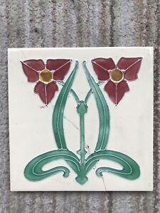 Cream Floral Art Nouveau Victorian Embossed Tile