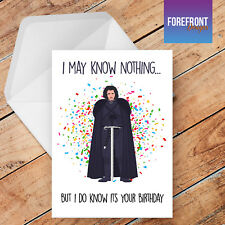 Personalised JON SNOW - GAME OF THRONES birthday greeting card /rude/funny/card