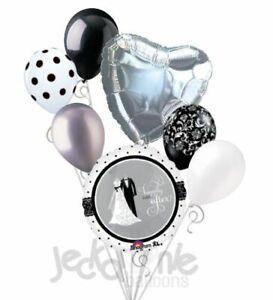 7pc Black & White Bride & Groom Balloon Bouquet Party Wedding Bridal Anniversary