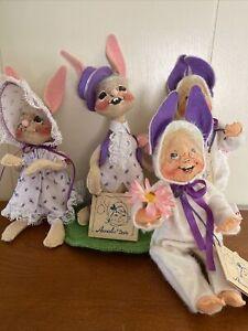 Vtg 1990 Annalee Easter Spring Bunny Rabbit Lot of 4