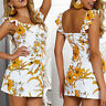 Womens Boho Floral Sleeveless Ladies Summer Beach Loose Midi Long Dress Long Top