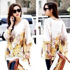 Fashion Women Lady Batwing Tops Sleeve Chiffon Shirt Bohemian Oversized Blouse