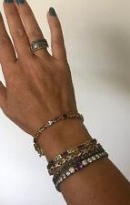 "14k Yellow Gold Plated Sterling Silver Multi Gem Stone Tennis Bracelet 7.5"""